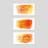 Set of business cards with watercolor background. Royalty Free Stock Photos