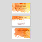Set of business cards with watercolor background. Stock Image
