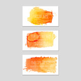 Set of business cards with watercolor background. Royalty Free Stock Images