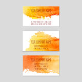 Set of business cards with watercolor background. Stock Photography