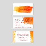 Set of business cards with watercolor background. Vector eps 10 Stock Images