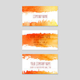 Set of business cards with watercolor background. Vector eps 10 Royalty Free Stock Photos