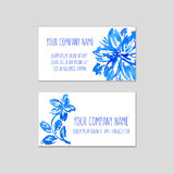 Set of business cards with watercolor floral background. Stock Photography