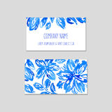 Set of business cards with watercolor floral background. Royalty Free Stock Image
