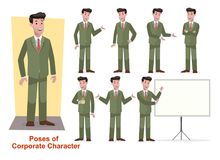 Set of business character for office and corporate stock illustration