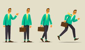 Set of business character. The office worker shows, stands, goes and runs. Vector illustration. In a flat style Stock Photo