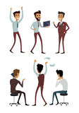 Set of Business Characters Vectors Illustrations. Set of business characters in flat style design. Successful people vector collection. Businessman at work Royalty Free Stock Images