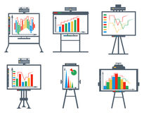 Set business chart, board, circles, lines, squares. Infographics elements in business style. Bar graphs for data visualization.  icons charts and projectors Stock Photos