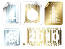 Set of business Christmas silver and golden labels Stock Image