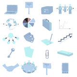 Set with Business Colored Icons. Set with Business Icons in Blue Tints. Office Items and Business Concept. Vector EPS 10 Royalty Free Stock Photo