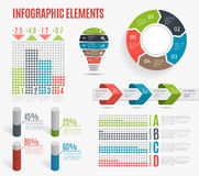 Set of business colorful infographic elements. Template for presentation, chart, graph. Vector illustration. Royalty Free Stock Photos