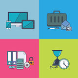Set of  business concept design flat line. Illustration Royalty Free Stock Photography
