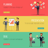 Set of Business Concept Web Banners Illustrations. Set of business conceptual web banners. Vectors with businessman at work in flat style. Planning Royalty Free Stock Photography