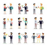 Set of Business Concepts Vector in Flat Design. Royalty Free Stock Photography
