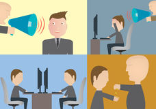 Set of business concepts, workforce, Stress state. Boss, payment of wages Stock Images