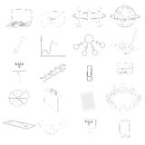 Set with Business Contour Icons. Set with 20 Business Contour Icons. Office Items and Business Concepts. Vector EPS10 Royalty Free Stock Photography