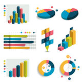 Set of business 3D design graphs, charts. Column, cubes, circle design. Infographics vector illustration