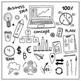 Set of business doodle elements. Hand drawn style. Idea, business, creative thinking, graphs, arrows. And all other kinds of business elements stock illustration