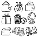 Doodle Business Icon Set 1- Vector Hand drawn. Set of business doodle on paper background set 1, for business, shopping, sale and financial concept-Vector Hand Stock Photography