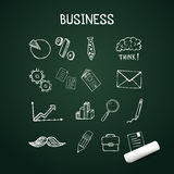 Set of business doodles, vector icons hand drawn with chalk Royalty Free Stock Photo