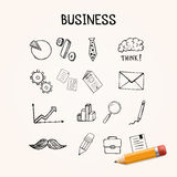 Set of business doodles, vector icons hand drawn Stock Photo