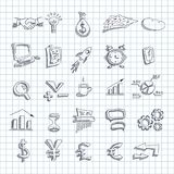 Set of business economic financial icons drawn. In style of  ballpoint pen on tetrad square background Royalty Free Stock Photos