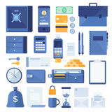 Set of business elements and financial elements of the process: safety Deposit box, telephone, bill, coins, briefcase, calculator,. Objects on white background Stock Photos