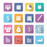 Set of  business elements icons in flat design. Set of  business elements  icons in flat design with long shadows Royalty Free Stock Image