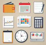 Set of business elements of marketing, reporting,. Web and mobile design icons. Illustration Stock Photography