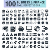 Set of 100 business and finance icons. Stock Photo