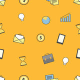 Set of business and finance icons. Seamless pattern background Royalty Free Stock Photography
