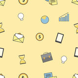 Set of business and finance icons. Seamless pattern background Stock Photo