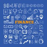 Set of Business and Finance Icons 2. Set of Business and Finance Icons. Vector hand drawn isolated objects. Sketch style Stock Images