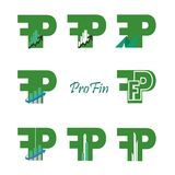 Set business Finance Logo. Set business Finance Logo with the letters F and P. Green. Logo for bines with two letters : P and F. Can be used for the logo of the Royalty Free Stock Photo
