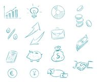 Set business and finance with money, calculator, charts. Exchange dollars and euros, businessman handshake, idea bulb. Arrows. Icons drawn by hand vector royalty free illustration