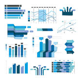 Set of business flat, 3D design graph. Blue Infographics charts stock illustration