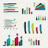 Set of business flat, 3D design graph. Infographics charts Stock Images