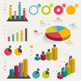 Set of business flat, 3D design graph. Infographics charts stock illustration