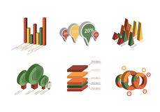 Set of Business Flat, 3D Design Graph. Infographics charts set Stock Photography