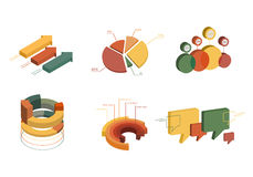 Set of Business Flat, 3D Design Graph. Infographics charts set Royalty Free Stock Photos