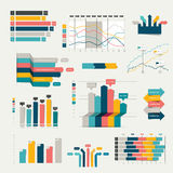 Set of business flat, 3D design graph. Infographics charts Stock Photos