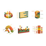 Set of Business Flat, 3D Design Graph. Infographics charts set stock illustration