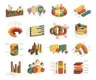 Set of Business Flat, 3D Design Graph. Infographics Charts. Royalty Free Stock Photos