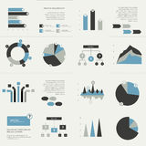 Set of business flat design elements, graphs, charts, flow chart. Stock Photo