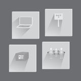 Set with Business Flat Icons. In Grayscale Colors. Suit for Web Usage and Mobile apps.Vector EPS 10 Royalty Free Stock Photos