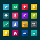 Set of business flat icons Stock Photography