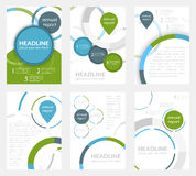 Set of business flyer template, brochure or corporate banner with circular pattern. A4 size. Royalty Free Stock Photo