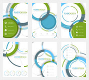 Set of business flyer template, brochure or corporate banner with circular pattern. A4 size. Royalty Free Stock Images