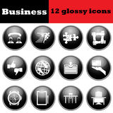 Set of business glossy icon Royalty Free Stock Photography