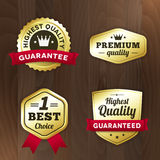 Set business gold premium label on wood  background Stock Images